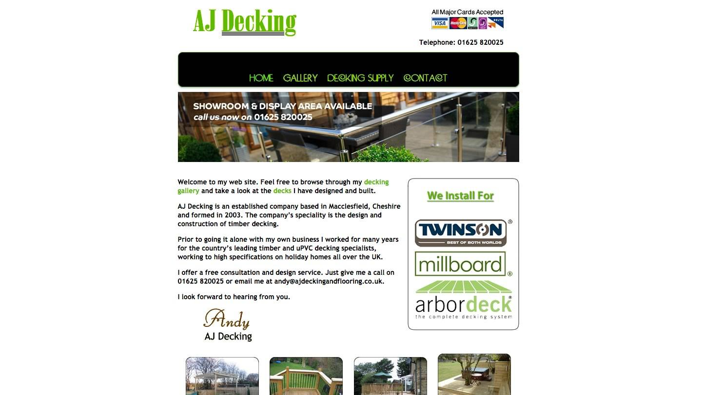 A J Decking Website by Big Decision