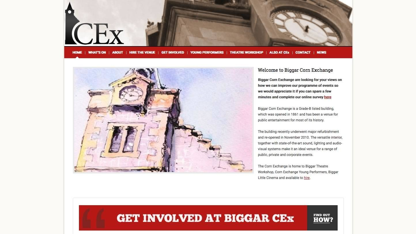 Biggar Corn Exchange Website by Big Decision