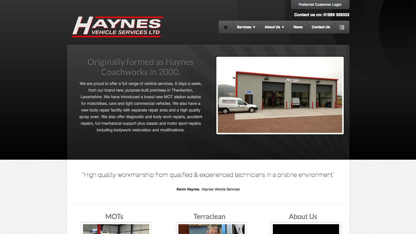 Haynes Vehicle Services Website by Big Decision