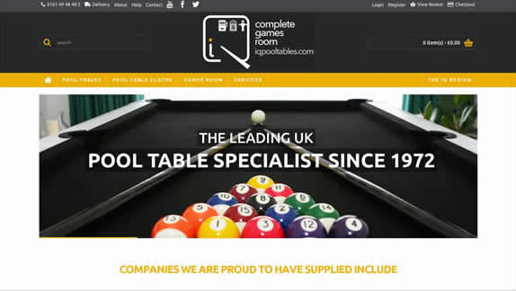 IQ Pool Tables Website Design By Big Decision