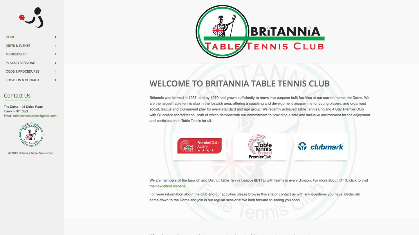 Britannia Table Tennis Club Website by Big Decision